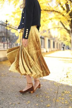 Skirt: Topshop (also in pink! Star Sweater: Jcrew (on sale with WARMSTYLE). Jacket: Burberry (also seen here, more budget friendly option here). Shoes: Jcrew (also love these velvet booties in 4 colors). Velvet Pleated Skirt, Pleated Skirt Outfit, Metallic Pleated Skirt, Gold Skirt, Skirt Outfits, Pleated Skirts, Velvet Dresses, Skirt Tumblr, Mustard Skirt