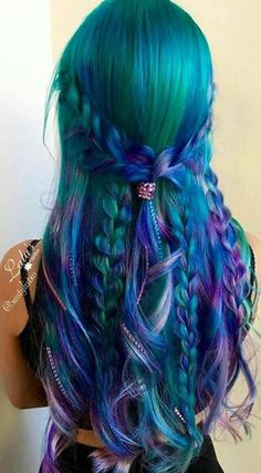 Teal Green Turquoise Blue Aqua Mermaid Bright Hair Colour Color Coloured Colored Fire Style