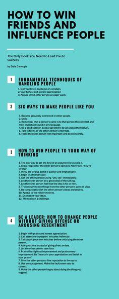 Die wichtigsten Tipps aus: How to Win Friends and Influence People - Infographic Communication Skills, Leadership Development, Self Development, Personal Development, Leadership Quotes, Life Skills, Life Lessons, People Infographic, Le Management