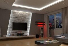 Wohnzimmer Tv Wand Design - - Albyna F - Soaking Tubs Home Lighting Design, Ceiling Design, Lighting Concepts, Interior Lighting, Tv Wand Design, Living Room Designs, Living Room Decor, Tv Wall Ideas Living Room, Living Room Tv Unit