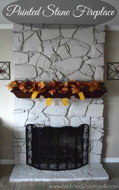 Painted Stone Fireplace DIY – A Spark of Creativity – New Mexico Decorating, – Fireplace tile ideas Painted Stone Fireplace, Faux Fireplace, Living Room With Fireplace, Painted Fireplaces, White Fireplace, Diy Origami, Coastal Decor, Diy Home Decor, Coastal Curtains