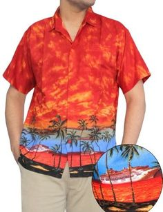 c3980253 LA LEELA Men Beach Hawaiian Collar Shirt Short Sleeve Pocket Orange Printed  3XL Thanksgiving Christmas Gift Autumn Winter 2017