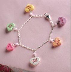 DIY Candy Heart Charm Bracelet.
