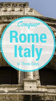 Conquer Rome Italy in Three Days. With 3 days being the average a traveler has to spend in Rome, I want to show you the top sites and can't miss things. If you have more days, great. Click to read 3 Days in Rome: Things To Do in Rome http://www.divergenttravelers.com/3-days-in-rome-things-to-do/