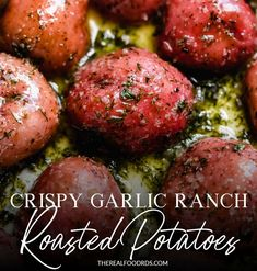 Made with just a few ingredients, these Crispy Garlic Ranch Roasted Potatoes make for a simple and scrumptious, crowd-pleasing side-dish. Dairy Free Recipes, Real Food Recipes, Vegetarian Recipes, Healthy Recipes, Real Foods, Veggie Recipes, Gluten Free Sides Dishes, Healthy Side Dishes, Side Dish Recipes