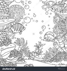 Underwater world with corals, fish, algae and anemones coloring page isolated on white background , Cute Coloring Pages, Adult Coloring Pages, Coloring Books, Underwater Drawing, Underwater World, Doodle Pages, Doodle Art, Johanna Basford Coloring Book, Wall Drawing