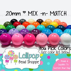 MIX & Match! ... 20mm GUMBALL Beads Solid Acrylic Beads Gum Ball Beads Round Plastic Beads Bubblegum Beads 10-ct Chunky Necklace Beads Bubble Gum Beads by LollipopBeadShoppe, $3.25
