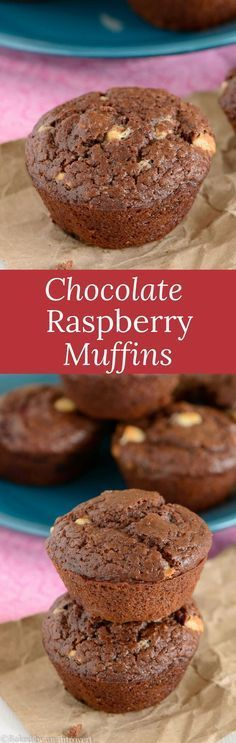 Double Chocolate Raspberry Muffins are chocolatey buttermilk muffins filled with juicy raspberries and white chocolate chips.