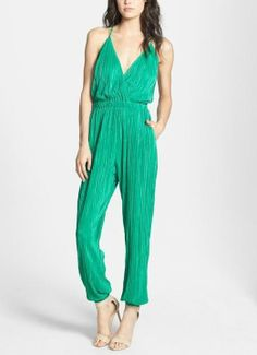 Green, green, green! Can't wait to wear this strap back textured jumpsuit.