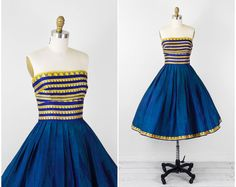 vintage 1950s 50s dress // Blue, Teal, and Gold Indian Sari Strapless Cupcake Dress