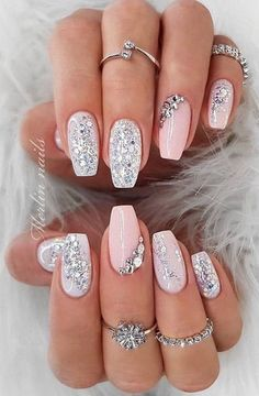 Pastel Pink Nails, Cute Pink Nails, Pink Nail Art, Glitter Nail Art, Purple Nails, Birthday Nail Designs, Birthday Nails, Pink Nail Designs, Acrylic Nail Designs
