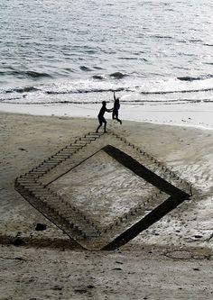LAND ART en 3D sur les plages de Nouvelle Zélande par Jamie Harkins Photo