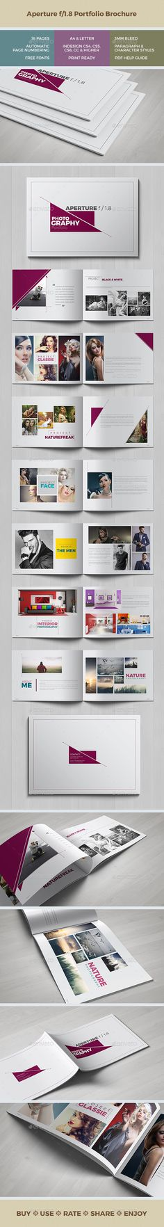 Aperture f/1.8 Portfolio - 16 Pages Template InDesign INDD #design Download: http://graphicriver.net/item/aperture-f18-portfolio-16-pages/14071861?ref=ksioks