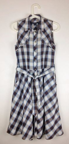 7be20895c9 GANT Checked Western Style Cotton Sleeveless Shirt Dress With Pockets Size  UK 8