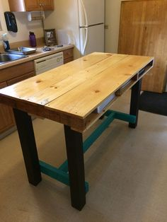 Counter-Height Kitchen Table Pallet Creation by Gunphaug on Etsy (But I think we could totally make this)