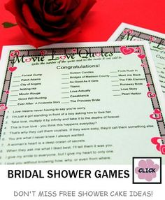 Movie Love Quotes #Wedding #Shower #Game starting at $5.35.  Check out ideas for centerpieces and shower cakes at this website as well!
