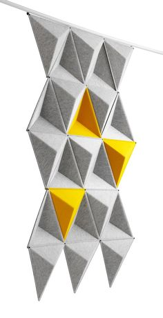 3D Felt facets Love the dynamic triangles and pops of color.  As well as the yellow/grey color scheme