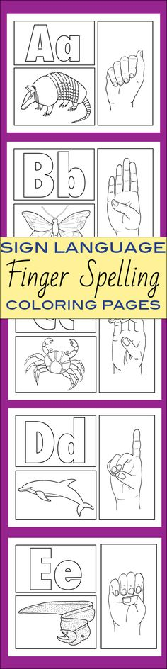 Sign Language Alphabet ABC Finger Spelling Coloring Pages double is nice classroom room border.