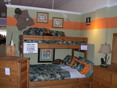 Boys room: Love the camo and orange. The gear on the walls are great deco ideas. Could hang vintage fishing pole, painted boat oar, deer horns. Hmmmmm Check out the website for more. Military Bedroom, Army Bedroom, Kids Bedroom, Bedroom Decor, Bedroom Ideas, Kids Rooms, Boy Rooms, Dream Bedroom, Wall Decor