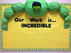 "Pinning for friends in the superhero theme. Will hang up work once school starts. But for the opening of school, I changed the words to, ""Our class is.INCREDIBLE"" and had my students' names posted on the bulletin board. Superhero Classroom Theme, Classroom Bulletin Boards, New Classroom, Classroom Themes, Superhero Bulletin Boards, Superhero Kids, Preschool Classroom, Kindergarten, Bulletin Board Ideas For Teachers"
