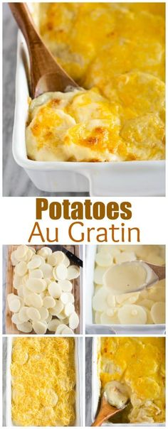 Potatoes Au Gratin are made in a casserole dish with thinly sliced potatoes, a creamy cheese sauce, and topped with sharp cheddar cheese. Cheddar Potatoes, Potatoes Au Gratin, Sliced Potatoes, Recipe For Augratin Potatoes, Cheese Potatoes, Roasted Potatoes, Side Dish Recipes, Snack Recipes, Cooking Recipes