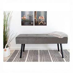Elegant grå bænk  #bænk #indretning #interiør #interiørbutikken