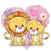 Dois leões em um fundo do coração