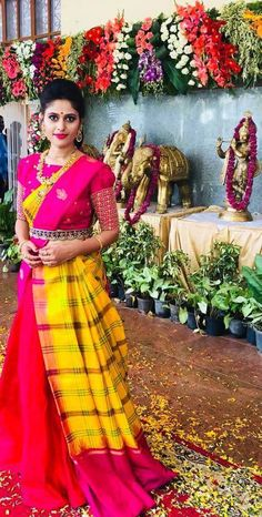 Discover recipes, home ideas, style inspiration and other ideas to try. Half Saree Lehenga, Lehenga Style, Saree Dress, Saree Blouse Patterns, Saree Blouse Designs, Indian Dresses, Indian Outfits, Trendy Sarees, Bridal Blouse Designs