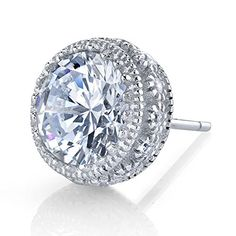 8MM 4 Carat Total Sterling Silver Stud Earrings with side Cubic Zirconias Pushback setting * See this great product.-It is an affiliate link to Amazon.