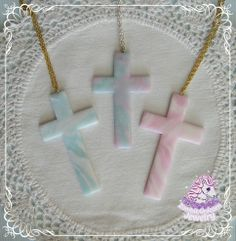 Handmade polymer clay cross on a long silver chain. The crosses are 9-10cm long.  - Pearly blue - Mint/glitter white - Lilac/pearly blue and pink - Pearly blue/pearly pink - Galaxy