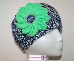Wide Crochet Headband with Seahawks' Button