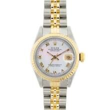 Rolex Two Tone Lady Datejust Mother of Pearl Roman Dial Fluted Bezel.