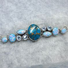 Mojave Blue Copper Turquoise and Lab Opal Bracelet Sterling Silver - Free Shipping