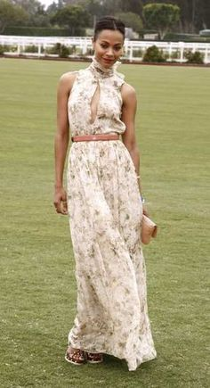 Zoe Saldana at charity polo match. just wish the slit down the bodice wasn't so huge. A little more modest and this dress will look so sweet! Celebrity Dresses, Celebrity Style, Races Fashion, Polo Fashion, Polo Outfit, Hollywood Red Carpet, Polo Match, Prep Style, Red Carpet Gowns
