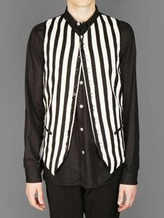 Ann Demeulemeester multi buttoned striped waistcoat with two slit pockets and double coulisse at back