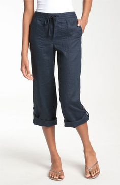 Caslon® Drawstring Crop Linen Pants available at Nordstrom