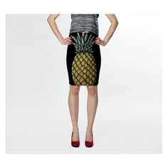 Pineapple Fitted Skirt ($31) ❤ liked on Polyvore