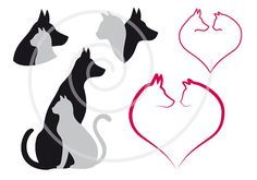 Cat and dog in red heart pet animal love digital by Illustree, $5.00