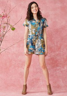 Your open-minded travel spirit is what makes this map-printed romper the perfect pick for wherever you're headed! Each pin on your globe signifies where you've rocked the cotton-linen-blended fabric, cuffed sleeves and hems, and gold, aqua, and ivory hues of this buttoned onesie from our ModCloth namesake label - a sartorial explorer's dream look!