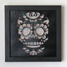 Framed Day Of the Dead Sugar Skull Cut Paper Wall Art by hvansick, $50.00