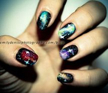 Inspiring picture beautiful, blue, cute, galaxy nails, girl. Resolution: 500x333 px. Find the picture to your taste!