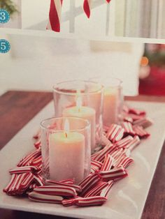 Pepperminty candle display (Martha Stewart)