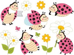 70% OFF SALE Ladybugs Clipart - Digital Vector Ladybird, Insect, Garden, Character, Polka Dot, Flower, Ladybugs Clipart for Persona