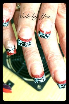 Black and red french acrylic nail design with lace stamping #nails by yen #pinyen34 #nail art ..thank you ma'am!!
