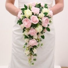 A Shower Bouquet of Ivory and Soft Pink.