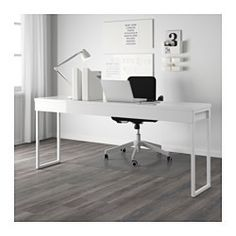 IKEA - BESTÅ BURS, Desk, , Two people can work comfortably at the desk with this long table top.Can be placed in the middle of a room because the back is finished.The high-gloss surfaces reflect light and give a vibrant look.