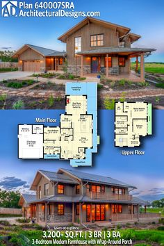 Architectural Designs Modern Farmhouse Plan 640007SRA | 3 beds | 3 baths | 3,200 Sq.Ft.+ | Ready when you are. Where do YOU want to build? #640007SRA #adhouseplans #architecturaldesigns #houseplan #architecture #newhome #newconstruction #newhouse #homedesign #dreamhouse #homeplan #architecture #architect #houses #homedecor #kitchen #greatroom #kitchendesign #modernfarmhouse #farmhouse #slopinglot