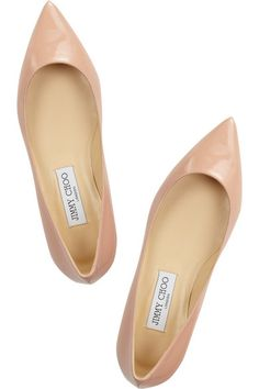 Heel measures approximately 10mm/ 0.5 inches Blush patent-leather Pointed toe Slip on