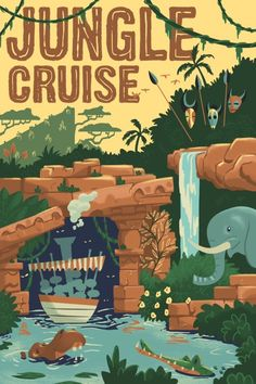I am obsessed with Disney. This will be the first of many park ride posters to come. Perfect for any adventurer or wanna be Jungle Cruise skipper. Poster Disney, Vintage Disney Posters, Retro Disney, Vintage Disneyland, Vintage Travel Posters, Disney Love, Punk Disney, Vintage Mickey, Disney Disney