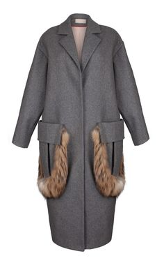 Oversized Grey Coat With Fur Trim by Ruban - Moda Operandi